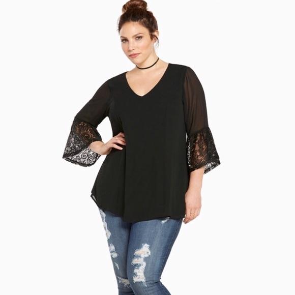 60cccfa11ab435 torrid Tops | Black Lace Bell Sleeve Plus Size Blouse Top | Poshmark